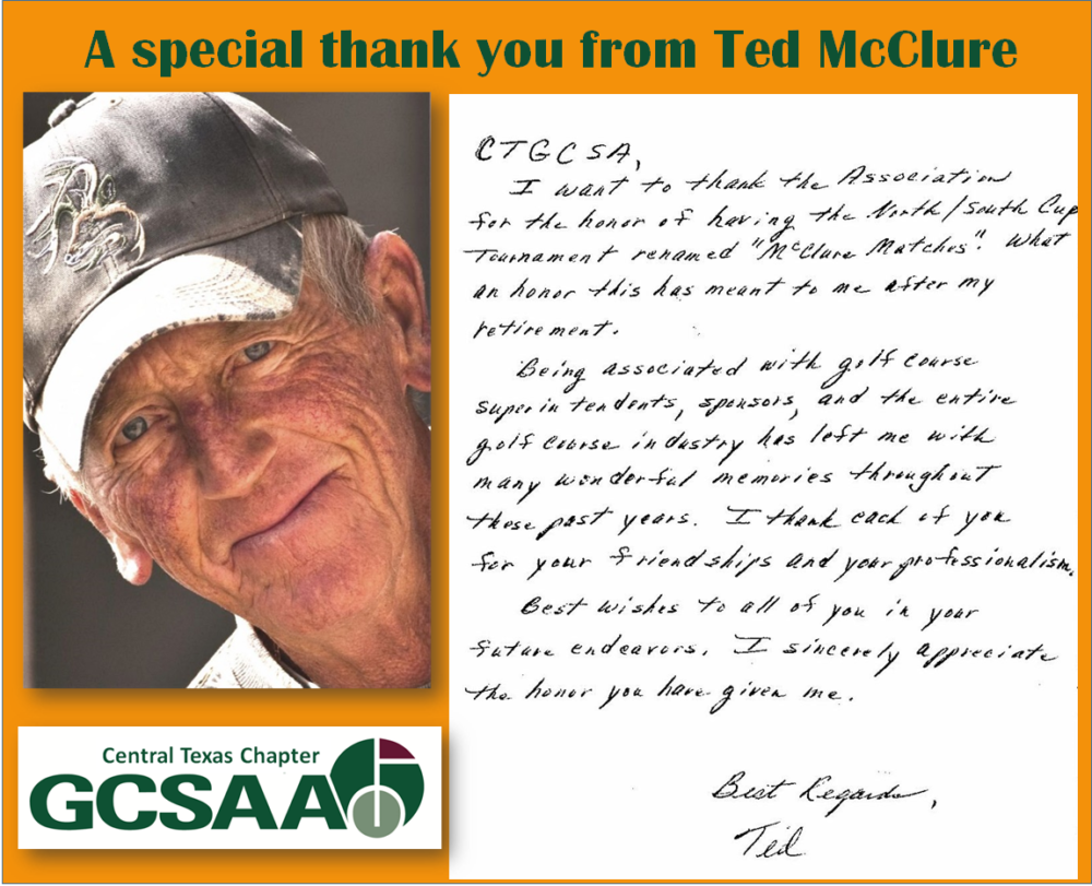 A special thank you from Ted McClure